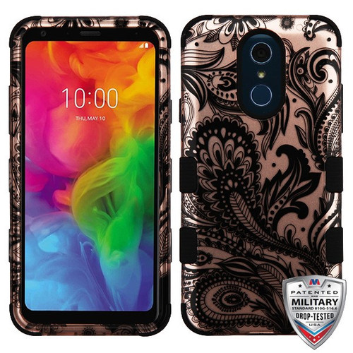 MyBat TUFF Hybrid Protector Cover [Military-Grade Certified] for Lg Q7 - Phoenix Flower (2D Rose Gold) / Black