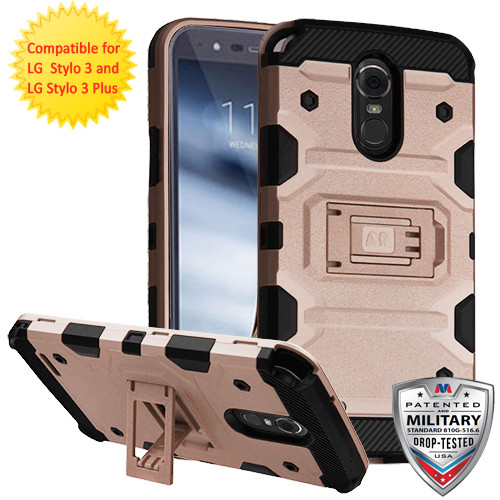 MyBat Storm Tank Hybrid Protector Cover [Military-Grade Certified] for Lg Stylo 3 Plus - Rose Gold / Black
