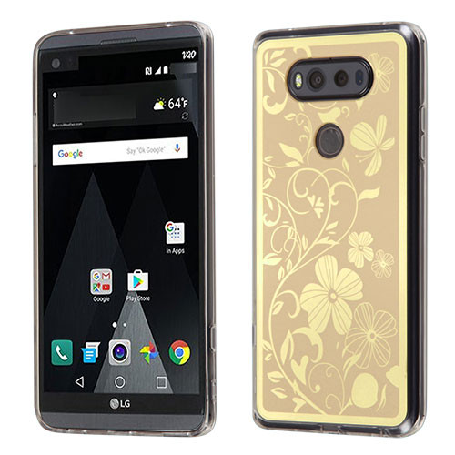 MyBat Gummy Cover for Lg V20 - Phoenix-tail Flowers Electroplating (Gold) / Transparent Clear