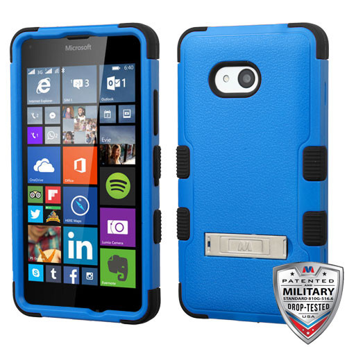 MyBat TUFF Hybrid Protector Cover (with Stand)[Military-Grade Certified] for Microsoft Lumia 640 (T-Mobile/MetroPCS) - Natural Dark Blue / Black