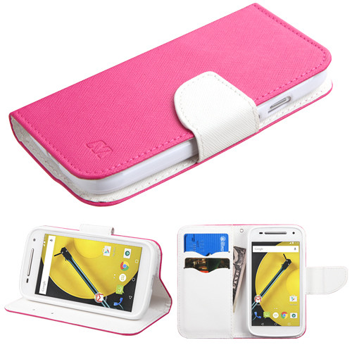 MyBat Liner MyJacket Wallet Crossgrain Series for Motorola Moto E (2nd generation) - Hot Pink Pattern / White