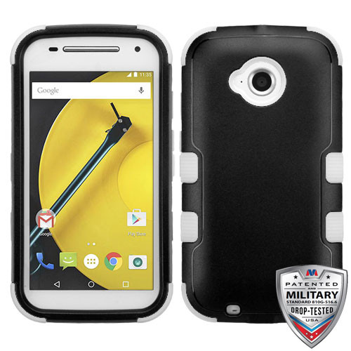 MyBat TUFF Hybrid Protector Cover [Military-Grade Certified] for Motorola Moto E (2nd generation) - Natural Black / White