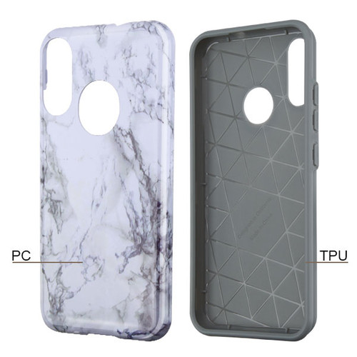 MyBat Fuse Hybrid Protector Cover for Motorola Moto E6 Plus - White Marbling / Iron Gray