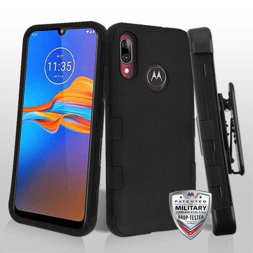 MyBat TUFF Hybrid Protector Case [Military-Grade Certified](with Black Horizontal Holster) for Motorola Moto E6 Plus - Rubberized Black / Black