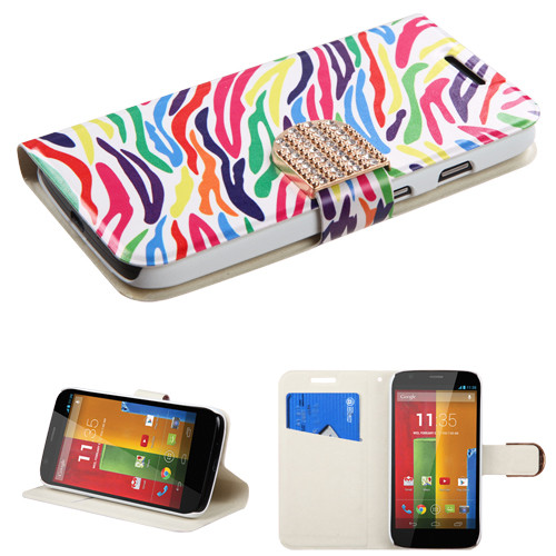 MyBat MyJacket Wallet(with Diamante Belt) for Motorola Moto G - Colorful Zebra
