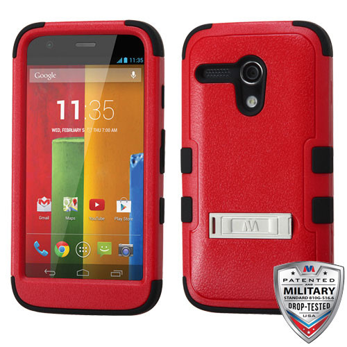 MyBat TUFF Hybrid Protector Cover (with Stand)[Military-Grade Certified] for Motorola Moto G - Natural Red / Black