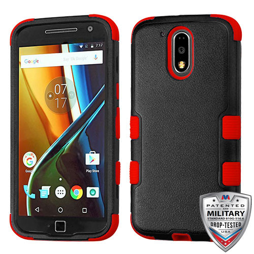 MyBat TUFF Hybrid Protector Cover [Military-Grade Certified] for Motorola Moto G4 PLUS - Natural Black / Red