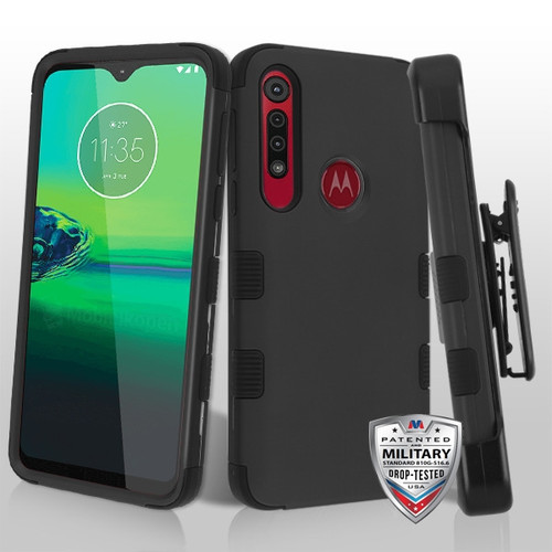 MyBat TUFF Hybrid Protector Case [Military-Grade Certified](with Black Horizontal Holster) for Motorola Moto G8 Play - Rubberized Black / Black