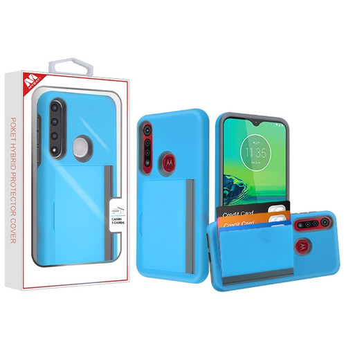MyBat Poket Hybrid Protector Cover (with Back Film) for Motorola Moto G8 Plus - Blue / Gray