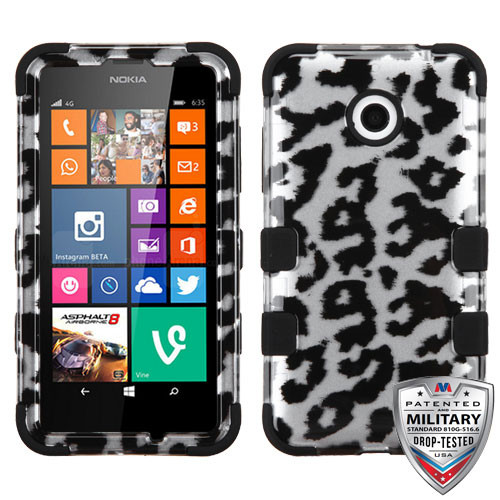 MyBat TUFF Hybrid Protector Cover [Military-Grade Certified] for Nokia Lumia 635 - Black Leopard (2D Silver) / Black