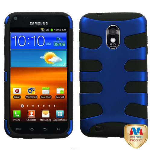 MyBat Fishbone Protector Cover for Samsung D710 (Epic 4G Touch/Galaxy S II 4G/R760) - Titanium Dark Blue / Black