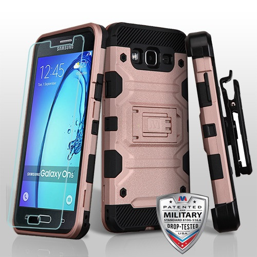 MyBat 3-in-1 Storm Tank Hybrid Protector Cover Combo (with Black Holster)(Tempered Glass Screen Protector)[Military-Grade Certified] for Samsung G550 (On5) - Rose Gold / Black
