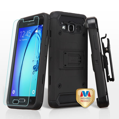 MyBat 3-in-1 Kinetic Hybrid Protector Cover Combo (with Black Holster)(Tempered Glass Screen Protector) for Samsung G550 (On5) - Black / Black