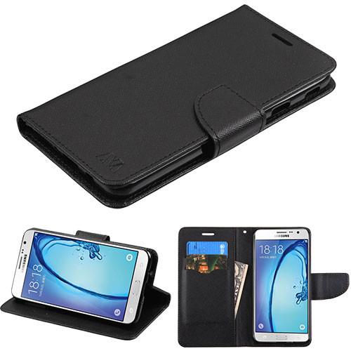 MyBat Liner MyJacket Wallet Crossgrain Series for Samsung Galaxy On7 (2016) - Black Pattern / Black