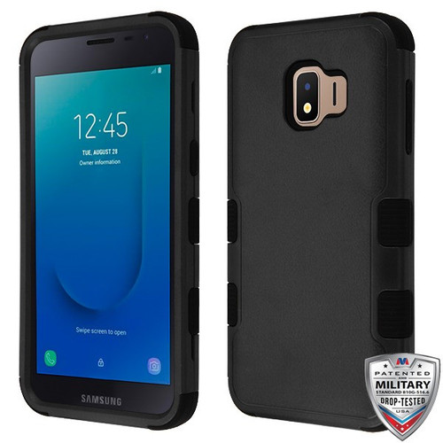 MyBat TUFF Hybrid Protector Cover [Military-Grade Certified] for Samsung J260 (Galaxy J2 Core) - Natural Black / Black
