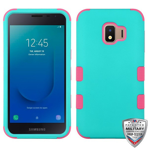 MyBat TUFF Hybrid Protector Cover [Military-Grade Certified] for Samsung J260 (Galaxy J2 Core) - Rubberized Teal Green / Electric Pink