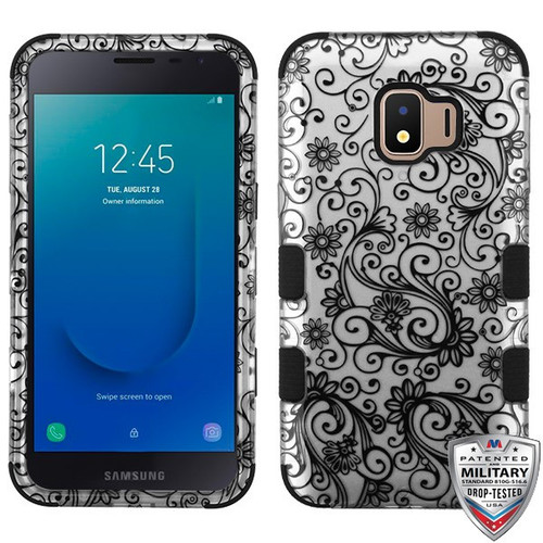 MyBat TUFF Hybrid Protector Cover [Military-Grade Certified] for Samsung J260 (Galaxy J2 Core) - Black Four-Leaf Clover (2D Silver) / Black
