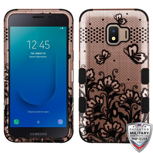 MyBat TUFF Hybrid Protector Cover [Military-Grade Certified] for Samsung J260 (Galaxy J2 Core) - Black Lace Flowers (2D Rose Gold) / Black