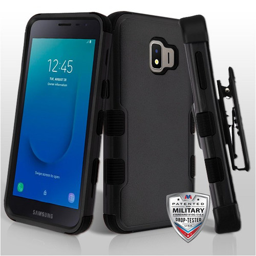 MyBat TUFF Hybrid Protector Case Combo [Military-Grade Certified](with Black Horizontal Holster) for Samsung J260 (Galaxy J2 Core) - Natural Black / Black