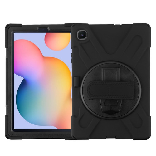 MyBat Rotatable Stand Protector Cover (with Wristband) for Samsung P610 (Galaxy Tab S6 Lite) - Black / Black