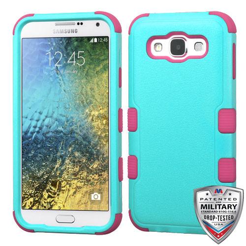 MyBat TUFF Hybrid Protector Cover [Military-Grade Certified] for Samsung S978L (Galaxy E5) - Natural Teal Green / Electric Pink