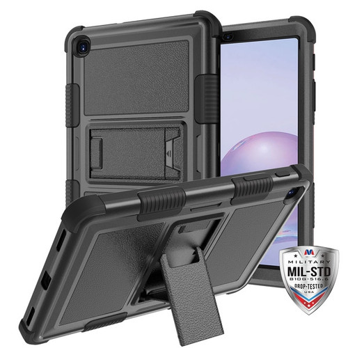 MyBat TUFF Hybrid Protector Case (with Stand)[Military-Grade Certified] for Samsung T307 (Galaxy Tab A 8.4 (2020)) - Natural Black / Black