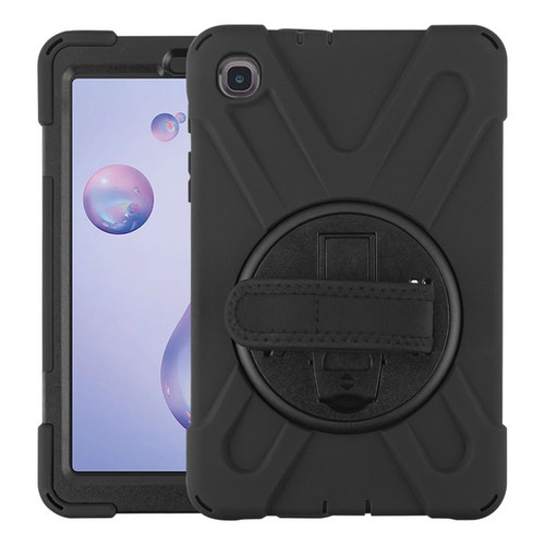 MyBat Rotatable Stand Protector Cover (with Wristband) for Samsung T307 (Galaxy Tab A 8.4 (2020)) - Black / Black