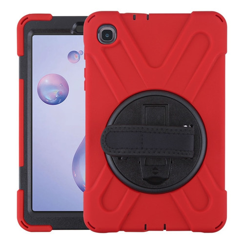 MyBat Rotatable Stand Protector Cover (with Wristband) for Samsung T307 (Galaxy Tab A 8.4 (2020)) - Black / Red
