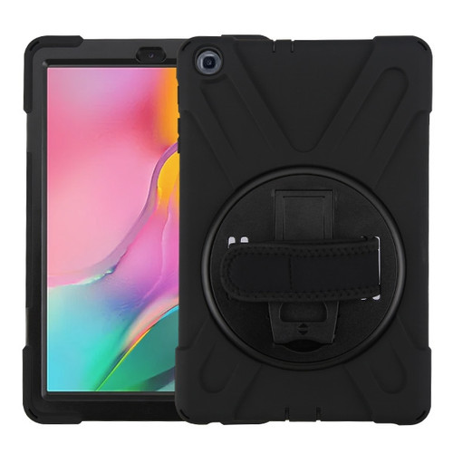 MyBat Rotatable Stand Protector Cover (with Wristband) for Samsung T510 (Galaxy Tab A 10.1 (2019)) - Black / Black