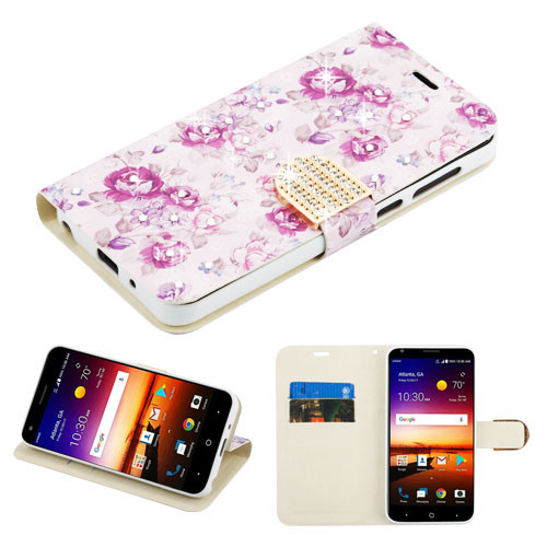 MyBat MyJacket Wallet Diamond Series for Zte Fanfare 3 - Fresh Purple Flowers