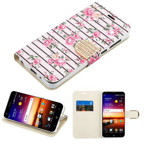 MyBat MyJacket Wallet Diamond Series for Zte Fanfare 3 - Pink Fresh Roses