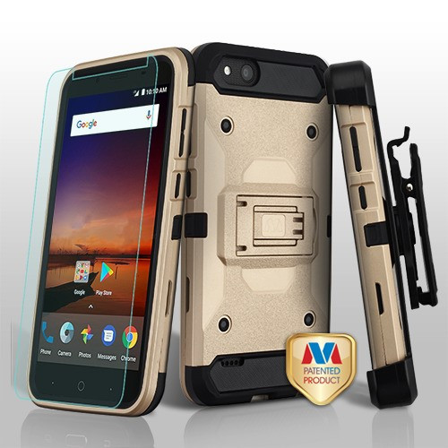 MyBat 3-in-1 Kinetic Hybrid Protector Cover Combo (with Black Holster)(Tempered Glass Screen Protector) for Zte Fanfare 3 - Gold / Black