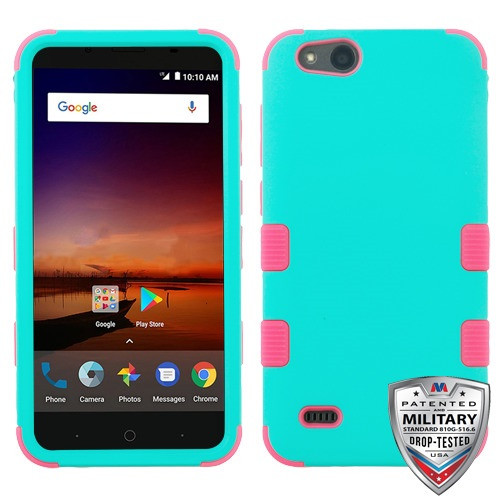MyBat TUFF Hybrid Protector Cover [Military-Grade Certified] for Zte N9137 (Tempo X) - Rubberized Teal Green / Electric Pink