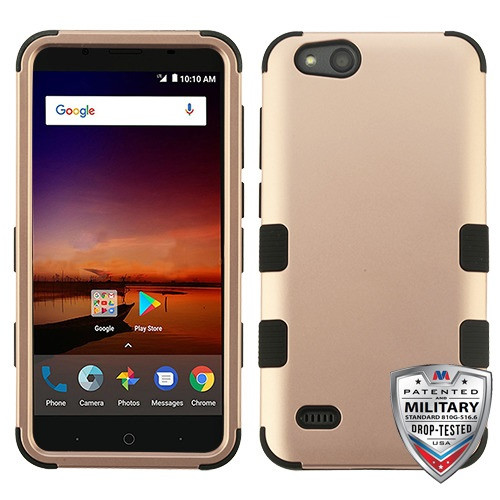MyBat TUFF Hybrid Protector Cover [Military-Grade Certified] for Zte N9137 (Tempo X) - Rose Gold / Black