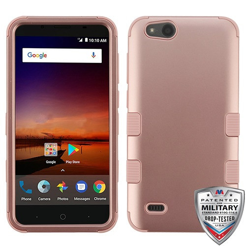 MyBat TUFF Hybrid Protector Cover [Military-Grade Certified] for Zte N9137 (Tempo X) - Rose Gold / Rose Gold