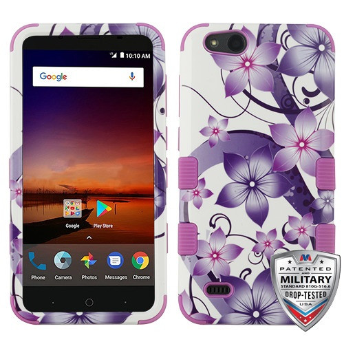 MyBat TUFF Hybrid Protector Cover [Military-Grade Certified] for Zte N9137 (Tempo X) - Purple Hibiscus Flower Romance / Electric Purple