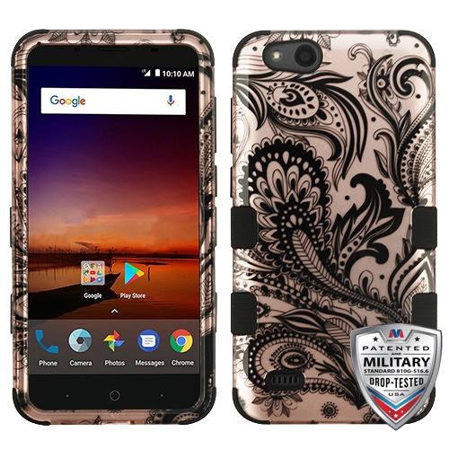 MyBat TUFF Hybrid Protector Cover [Military-Grade Certified] for Zte N9137 (Tempo X) - Phoenix Flower (2D Rose Gold) / Black