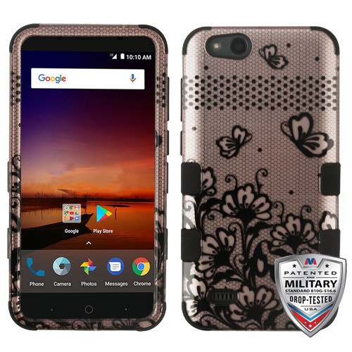 MyBat TUFF Hybrid Protector Cover [Military-Grade Certified] for Zte N9137 (Tempo X) - Black Lace Flowers (2D Rose Gold) / Black