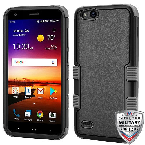 MyBat TUFF Hybrid Protector Cover [Military-Grade Certified] for Zte N9137 (Tempo X) - Natural Black / Iron Gray