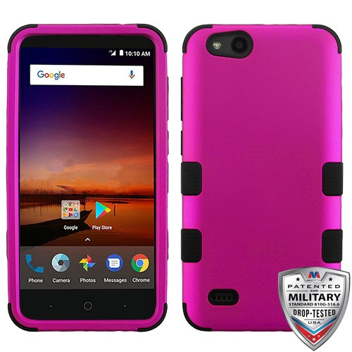 MyBat TUFF Hybrid Protector Cover [Military-Grade Certified] for Zte N9137 (Tempo X) - Titanium Solid Hot Pink / Black