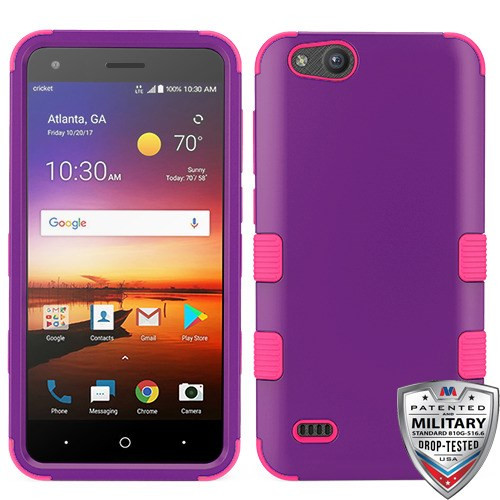 MyBat TUFF Hybrid Protector Cover [Military-Grade Certified] for Zte N9137 (Tempo X) - Rubberized Grape / Electric Pink