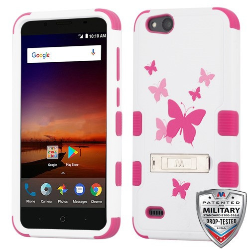 MyBat TUFF Hybrid Protector Cover (with Stand)[Military-Grade Certified] for Zte N9137 (Tempo X) - Butterfly Dancing / Hot Pink