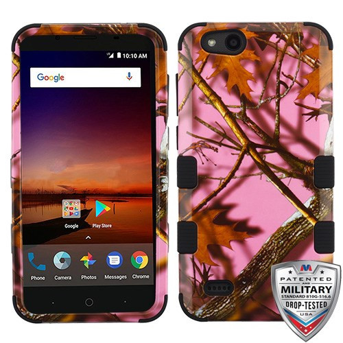 MyBat TUFF Hybrid Protector Cover [Military-Grade Certified] for Zte N9137 (Tempo X) - Pink Oak-Hunting Camouflage Collection / Black