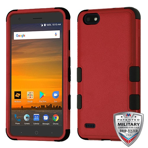 MyBat TUFF Hybrid Protector Cover [Military-Grade Certified] for Zte N9517 (Blade Force) - Natural Red / Black