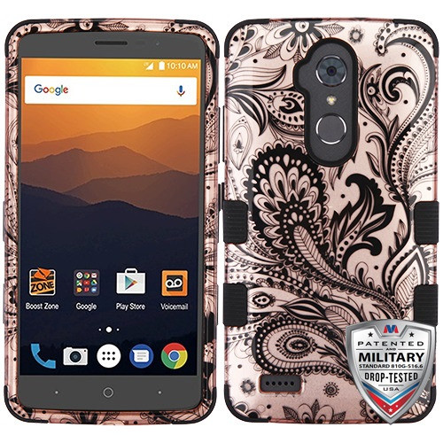 MyBat TUFF Hybrid Protector Cover [Military-Grade Certified] for Zte N9560 Max XL - Phoenix Flower (2D Rose Gold) / Black