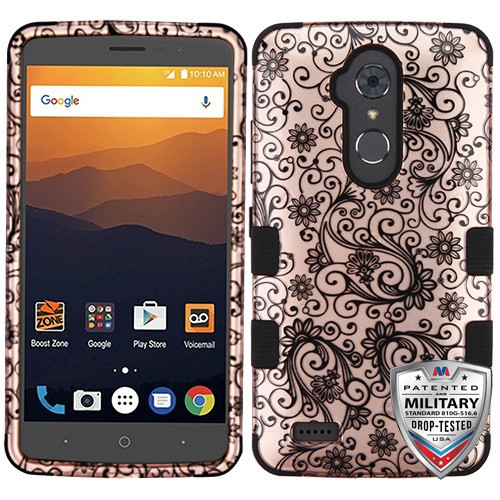 MyBat TUFF Hybrid Protector Cover [Military-Grade Certified] for Zte N9560 Max XL - Black Four-Leaf Clover (2D Rose Gold) / Black