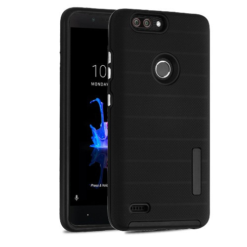 MyBat Fusion Protector Cover for Zte Sequoia - Black Dots Textured / Black