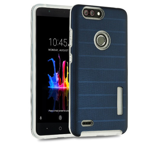 MyBat Fusion Protector Cover for Zte Sequoia - Ink Blue Dots Textured / Transparent Clear