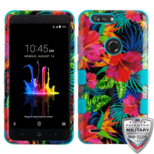 MyBat TUFF Hybrid Protector Cover [Military-Grade Certified] for Zte Sequoia - Electric Hibiscus / Tropical Teal