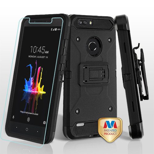 MyBat 3-in-1 Kinetic Hybrid Protector Cover Combo (with Black Holster)(Tempered Glass Screen Protector) for Zte Sequoia - Black / Black